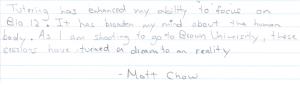 matt chow's tutor testimonial
