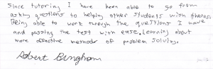Robert Bingham's All Studies Academic Testimonial